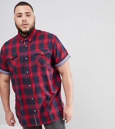 Красная рубашка в клетку с короткими рукавами и карманами Duke Plus - Красный