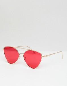 Солнцезащитные очки-авиаторы с красными стеклами в золотистой оправе AJ Morgan - Золотой