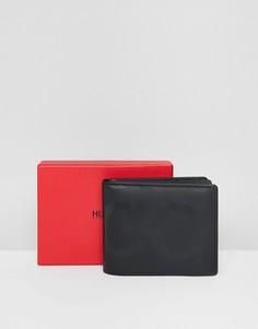 Черный бумажник для карточек и монет, фирменный принт с логотипом HUGO - Черный