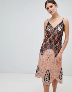 Декорированное платье-комбинация миди с кружевом ASOS DESIGN premium - Мульти