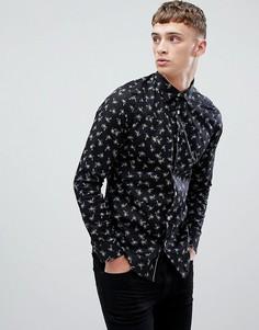 Приталенная рубашка с длинными рукавами и пальмовым принтом Ted Baker - Черный