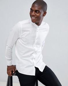 Белая рубашка с добавлением льна, длинными рукавами и воротником на пуговице Ted Baker - Белый