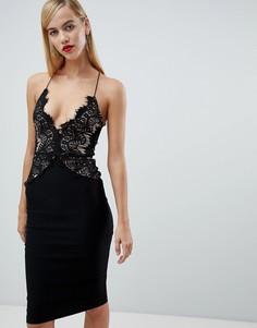 Кружевное платье миди ограниченной серии с длинными рукавами Rare - Черный