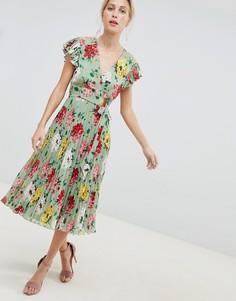 Плиссированное платье миди с рукавами клеш и цветочным принтом ASOS DESIGN - Мульти
