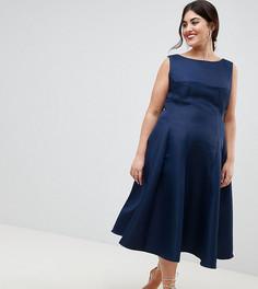 Платье миди с юбкой годе Chi Chi London Plus - Темно-синий