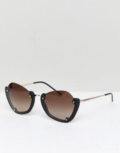 Круглые солнцезащитные очки в полуоправе Emporio Armani - Черный