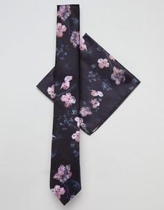 Галстук и платок для нагрудного кармана с цветочным принтом Religion wedding - Черный