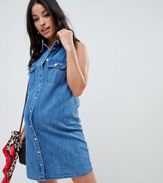 Джинсовое платье-рубашка без рукавов ASOS DESIGN Maternity - Синий