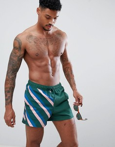 Короткие шорты для плавания с принтом ASOS DESIGN - Зеленый