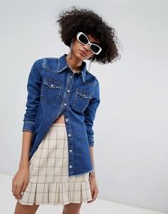 Приталенная джинсовая рубашка River Island - Синий