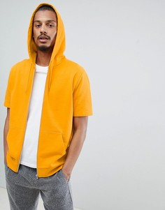 Желтый худи на молнии с короткими рукавами ASOS DESIGN - Желтый