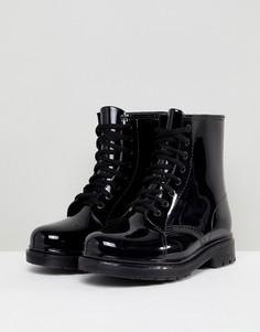 Резиновые ботинки на шнуровке Glamorous - Черный
