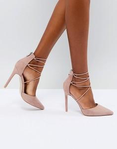Туфли на каблуке с завязками Public Desire - Бежевый
