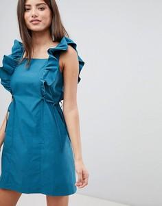 Платье мини с оборками на рукавах Fashion Union - Синий