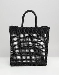 Соломенная сумка-шоппер South Beach - Черный