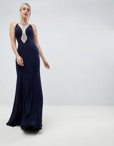 Платье макси с вырезом Jovani - Темно-синий