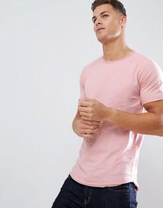 Удлиненная футболка с рукавами реглан и необработанным краем Jack & Jones Originals - Розовый