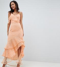 Асимметричное платье макси с оборками и вышивкой ришелье ASOS DESIGN Tall - Желтый