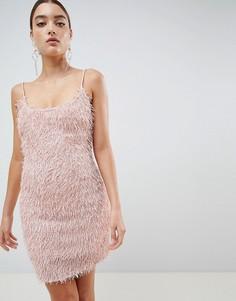 Облегающее платье с бахромой Missguided - Розовый