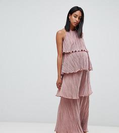 Платье макси с плиссировкой и ярусным дизайном ASOS DESIGN Maternity - Бежевый