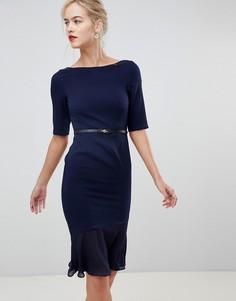Платье с оборкой Paper Dolls - Темно-синий