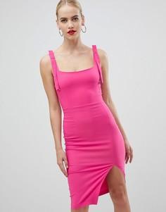 Розовое платье-футляр с квадратным воротом и вырезом на спине Vesper - Розовый