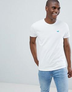 Белая футболка узкого кроя с круглым вырезом и логотипом Hollister Solid Core - Белый