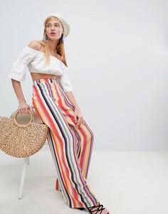 Брюки в разноцветную полоску с широкими штанинами New Look - Мульти