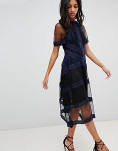 Платье миди с кружевными вставками AllSaints - Черный