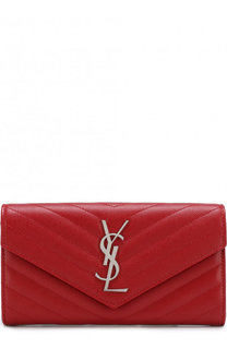 Кожаное портмоне с клапаном и логотипом бренда Saint Laurent