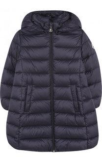 Стеганое пальто на молнии с капюшоном Moncler Enfant