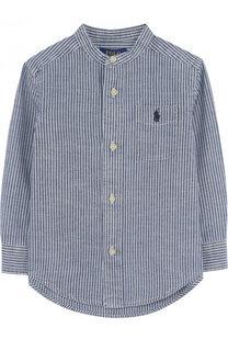 Хлопковая рубашка с воротником-стойкой Polo Ralph Lauren