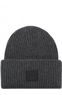 Шерстяная шапка фактурной вязки с логотипом бренда Acne Studios