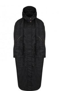 Однотонное пальто с капюшоном и воротником-стойкой Valentino