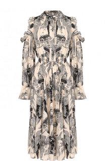 Шелковое платье-миди с оборками и принтом Alexander McQueen