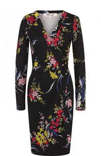 Шелковое мини-платье с запахом и принтом Diane Von Furstenberg