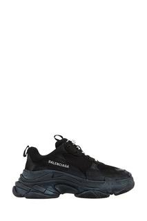 Черные кроссовки из кожи и текстиля Triple S Balenciaga