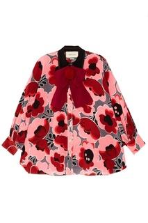 Шелковая блузка с цветочным принтом Gucci