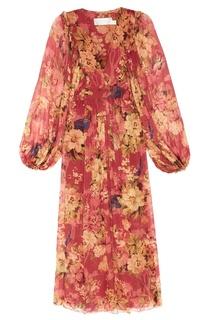 Шелковое платье с цветочным принтом Zimmermann