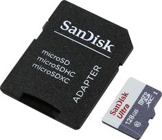 Карта памяти microSDXC UHS-I SANDISK Ultra 80 128 ГБ, 80 МБ/с, Class 10, SDSQUNS-128G-GN6TA, 1 шт., переходник SD