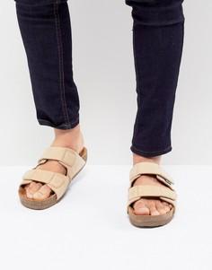 Бежевые замшевые сандалии с двумя ремешками Eastland Caleb - Бежевый