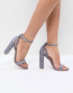 Серые босоножки на блочном каблуке Lost Ink Blaise - Серый