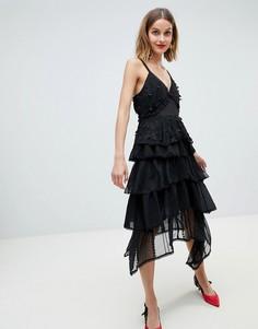 Ярусное премиум-платье на бретельках из фактурного кружева Lost Ink - Черный