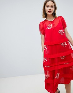 Свободное платье миди с полупрозрачным слоем и цветочным принтом Lost Ink - Розовый