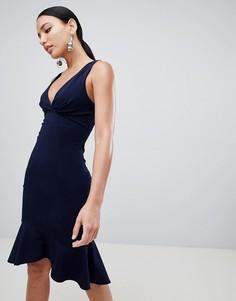 Платье миди с глубоким вырезом Lipsy - Темно-синий