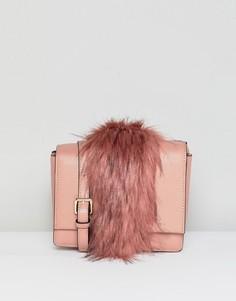 Сумка на плечо со вставкой из искусственного меха Essentiel Antwerp - Розовый