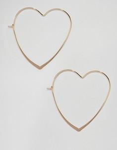 Серьги-кольца в форме сердечек ASOS - Золотой
