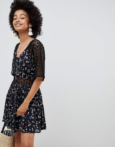ASOS DESIGN lace insert mini casual tea dress in ditsy floral - Мульти