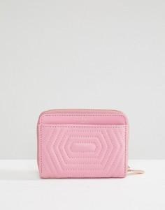 Кожаный стеганый кошелек на молнии с бантиком Ted Baker - Розовый