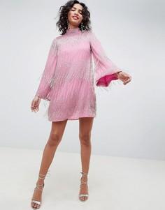 Платье мини с бахромой и расклешенными рукавами ASOS EDITION - Розовый